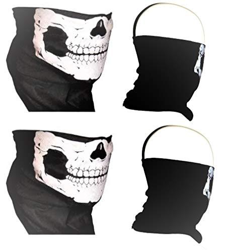 2 Piece Lot American Made Skull Neck Tube Face Mask Biker Tubular Seamless Bandana No Fangs