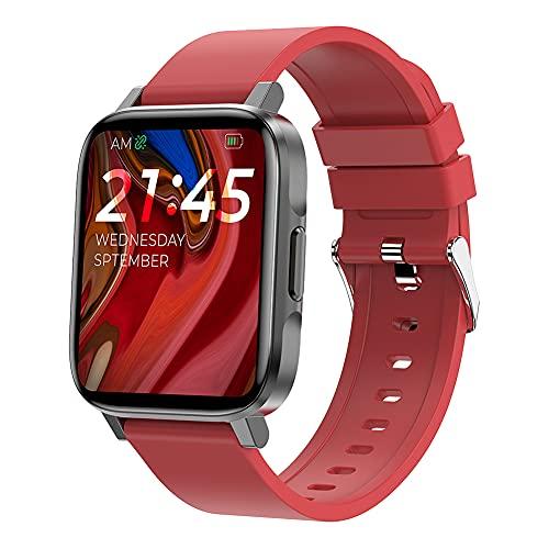 ERGEFSD Smartwatch 1.7 in Pantalla Táctil Fitness Tracker,para iOS Android Reloj Inteligente con Ritmo Cardiaco Presión Sanguínea Dormir Monitor Reloj Deportivo para Hombre Mujer-Rojo