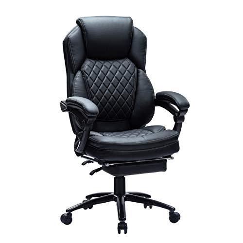 Kasorix Bürostuhl Atmungsaktiver Leder mit Fußstütze Chefsessel Leder Computerstuhl mit Fußstütze Büro-Schreibtischstuhl mit Breitem Sitz, Chefsessel bis 250 KG (DE-9106)