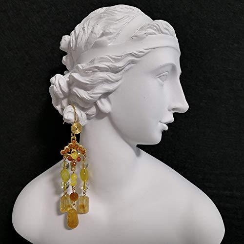 Serie de Diosas Griegas 2020: Afrodita - Citrino hecho a mano y Cuarzo Rutilado en Oro y Almeja Dorada y Ópalo Amarillo y Granate Champán y Ojos de Tigre y Pendientes de Jade Amarillo