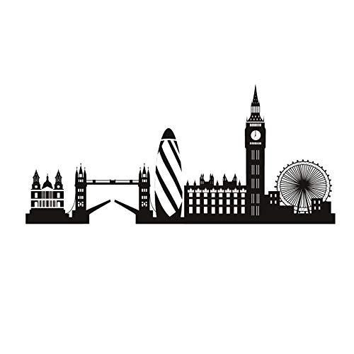 Etiqueta de la pared del horizonte de Londres Big Ben Landmark etiqueta de la pared edificio de la ciudad decoración del hogar decoración de la sala de estar