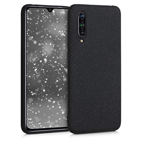 kwmobile Hülle kompatibel mit Xiaomi Mi 9 Lite - Handyhülle Silikon Hülle - Glitzer Uni Schwarz matt