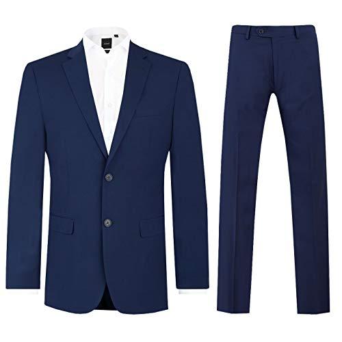 Dobell Herren Anzug Zweiteilig Dunkelblau Regular Fit (26 Jackett mit 26 Hosen)