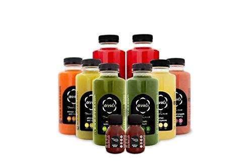 DRINK6 - Quick Fix Pack, Plan Detox de 6 Zumos Naturales, Agua de Pitaya y Shots Antioxidantes, Reduce la Retención de Líquidos de Forma Natural