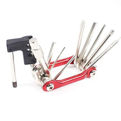 Réparation de pneus de vélo Tool Kit Kits d'outils Multifonctions vélo Multitool Repair Tool Set avec Tournevis chaîne Rivet Extractor for VTT Route (Color : Red)