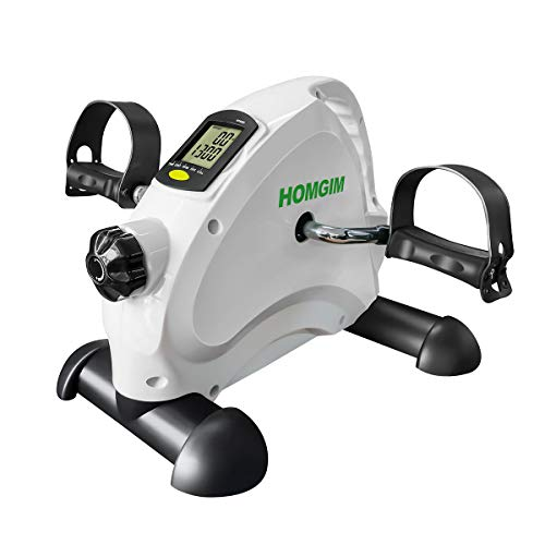HOMGIM Under Desk Bike Pedal Exerciser, Smooth & Low Noise Mini Exercise Bike for Legs/Foots Pedal Exerciser, Peddler Cycle with LCD Display for Home, Office - Compact White