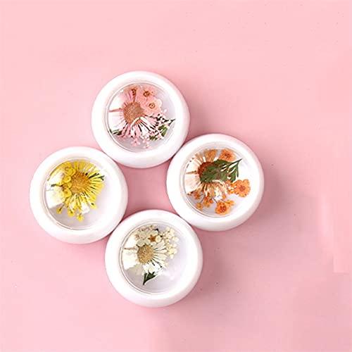 WZHrb 4fachs Mischen Getrocknete Blumen und Strasssteine, Glitzer für Nagelkunst, echte natürliche trockene Blumenharz, Maniküre-Dekoration (Color : I)