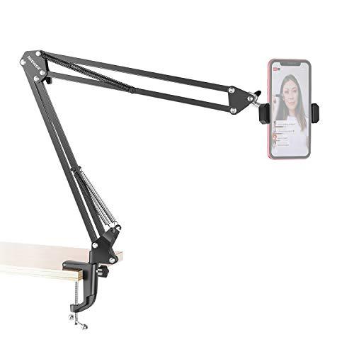 Neewer Support de Bras de Ciseaux Articulé de Table Rotatif à 360 ° Support de Vidéo Support de Montage pour Téléphone avec Pince de Téléphone pour Streaming en Direct, Enseignement en Ligne etc.