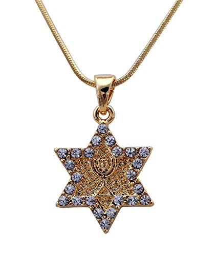 Estrella de David Magen Lámpara de alma Menorah Colgante Collar Lucky Judaica Santo Regalo