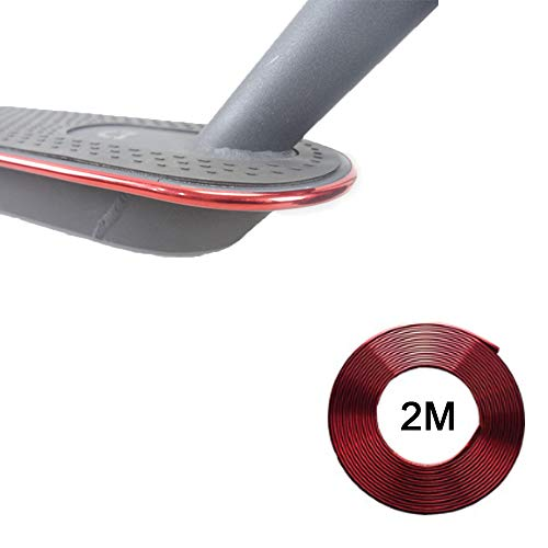 Flycoo2 Selbstklebendes Schutzband für Tretroller, für Xiaomi M365 M365 Pro, Stoßfänger, 2 m, elektroplattiert, rot