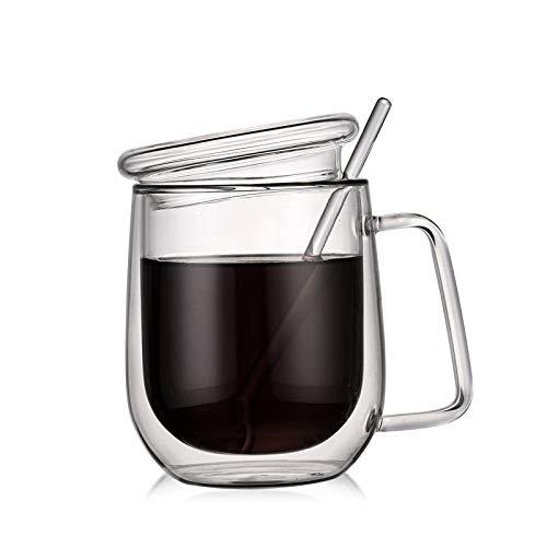 GO-AHEAD Doppelte Kaffeetasse aus Glas 300ML Doppel transparente Glaskaffeetasse mit isolierter Deckel Kaffeetasse Haushaltsglastasse (Capacity : 300ML, Color : 300ML)
