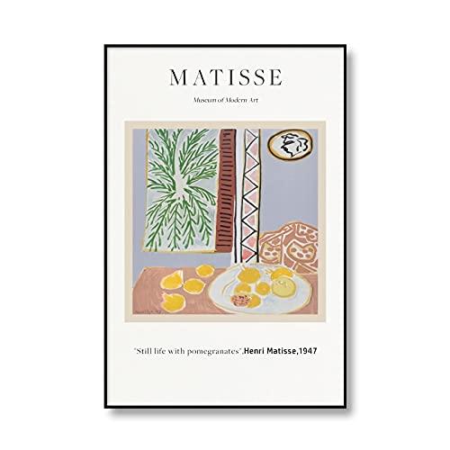 Carteles e impresiones retro de Henri Matisse de la vendimia, decoración de la lona del arte de la pared del paisaje abstracto, pintura de la lona sin marco A1 60x80cm