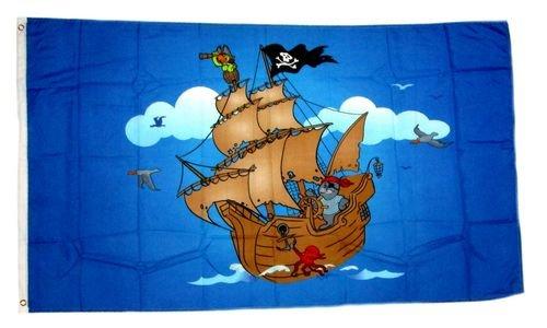 Fahne / Flagge Piratenschiff blau 90 x 150 cm Flaggen