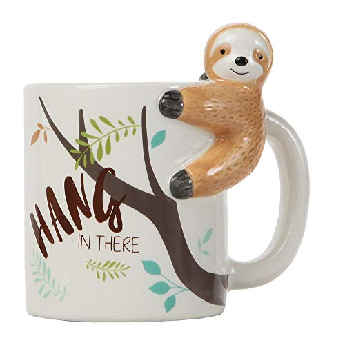 Lily's Home Hang In There Lazy Sloth 3D Animal Mug. Ceramic Cup for Sloth Lovers.10 Oz.