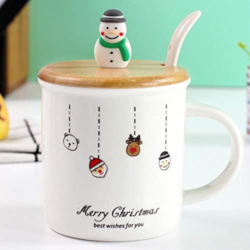 YXYLQ 2020Christmas Schneemann Keramikbecher 3D Weihnachtspuppe Stirnband Tasse Mit Deckel Löffel Porzellan Weihnachtsbecher Großhandel-03_Style