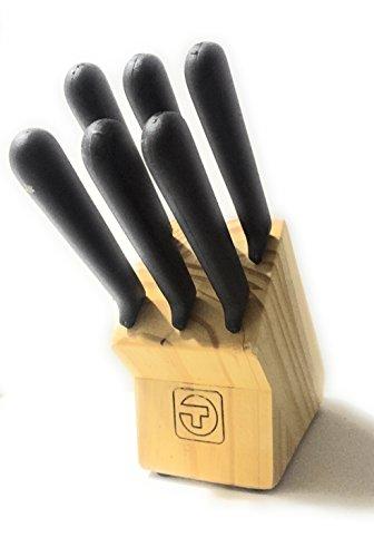 Tramontina Steak Knife M-310 Bloc + 6 couteaux lame dentelée, pointe pointue, manche en polypropylène, fabriqué en Brasil