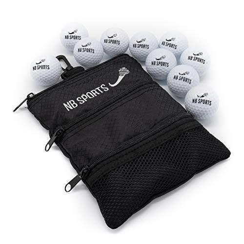 NB Sports Golfbälle 10er Set neu mit Tasche, Leuchtend weiß, Golfbälle für Damen und Herren, Anfänger und Fortgeschrittene… (Einzelpack)