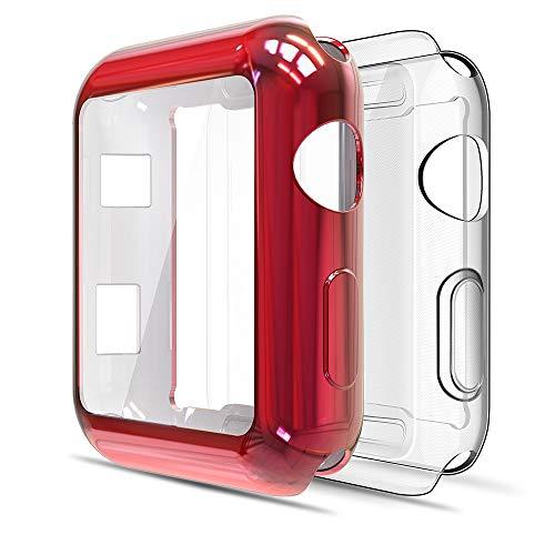Simpeak Cover Compatibile per Apple Watch 42mm Series 2 3(Confezione da 2), Custodia Compatibile per iWatch Full Protettivo TPU Caso, Transparent+ Rosso