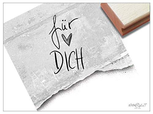 Stempel Textstempel FÜR Dich in Handschrift mit Herz - Schriftstempel Glückwünsche, Karten Briefe Geschenkanhänger Geschenk Deko - zAcheR-fineT