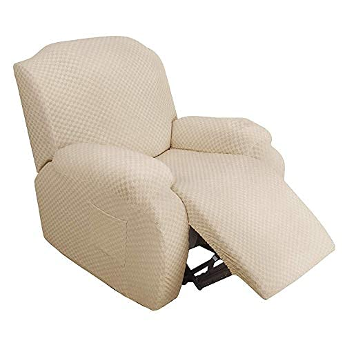 Funda de sillón, Capuchas elásticas para sillón, Elástico Funda para sillón reclinable Jacquard de poliéster y Elastano Fundas de sofá Suaves duraderas (Beige Claro)