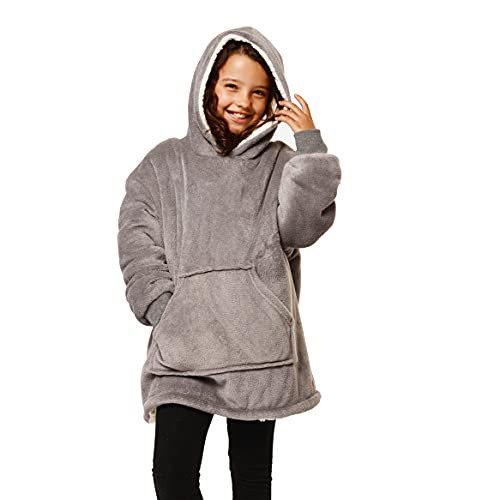 Sienna Kids Hoodie Blanket Oversized Ultra Soft Plush Sherpa Fleece Wearable Warm Throw Cosy Pull Over for Boys Girls Children - Charcoal Grey