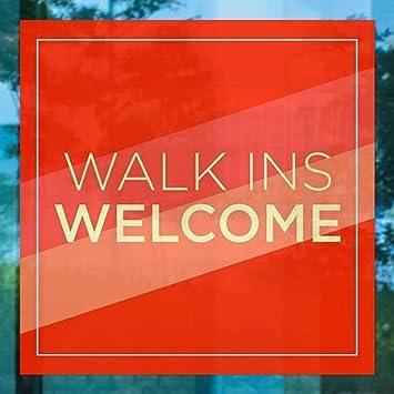 CGSignLab Walk Ins Welcome 5-Pack 12x12 Modern Diagonal Window Cling