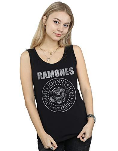 Ramones Mujer Distressed Seal Camiseta Sin Mangas Negro Small
