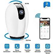 WLAN IP Kamera, DIGOO WiFi Überwachungskamera mit Nachtsicht Bewegungserkennung, 2 Wege Audio, 355°/90°Schwenkbar, Baby Monitor, Sicherheitskamera unterstützt Mobile App Kontrolle