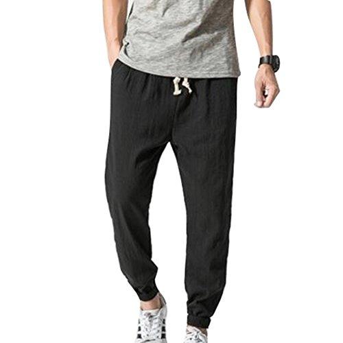 JiXuan Algodón Lino Pantalones Harem Casual Hombres Jogger Pantalones Hombres Pantalones de Fitness Estilo Chino Tradicional Harajuku