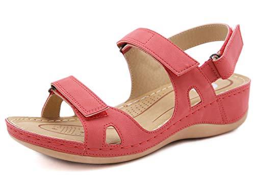 Sandalias con Punta Abierta para Mujer de Cuero Cómodo Sandalias de Caminar Antideslizantes Zapatos de Viaje Verano Playa con Ajustable al Tobillo