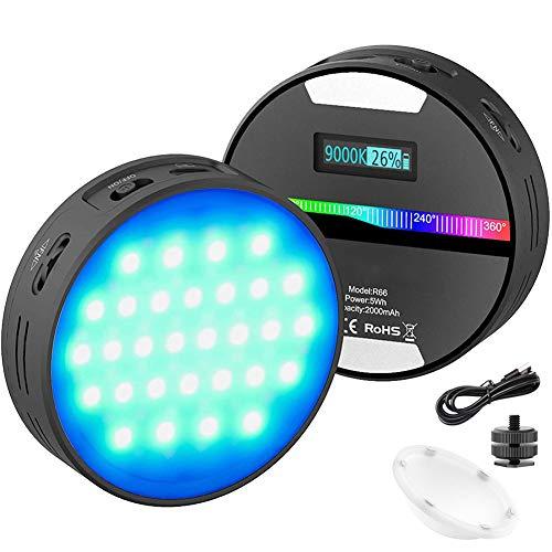 HAOXUAN Luz de Video de cámara LED R66 RGB, batería Recargable Tipo C de 2000 mAh, Panel Regulable 2500K-9000K CRI95 +, luz de Color portátil para iluminación de fotografía, luz de Zapata