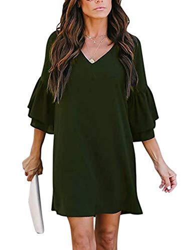 MISSLOOK Women's Dress V-Neck Cute Bell Sleeve Loose Shift Dress Swing Mini Dress