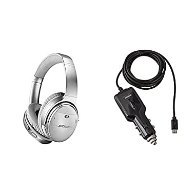 Bose QuietComfort 35 (Series II) Wireless Headphones, Noise Cancelling - Silver with AmazonBasics Car Charger