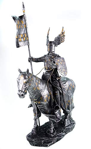 Joh. Vogler GmbH Deutscher Ritter auf Pferd Flügelhelm Flagge und Schild Deko Skulptur Knight Mittelalter Silber