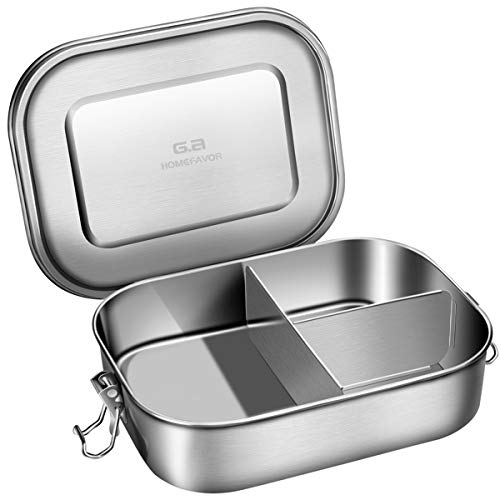 G.a HOMEFAVOR Stainless Steel Bento Lunch Box, Three Section Design for Sandwich, Pasta and Fruit 1400ML - Metal Bento Lunch Box for Adults or Kids, Dishwasher Safe
