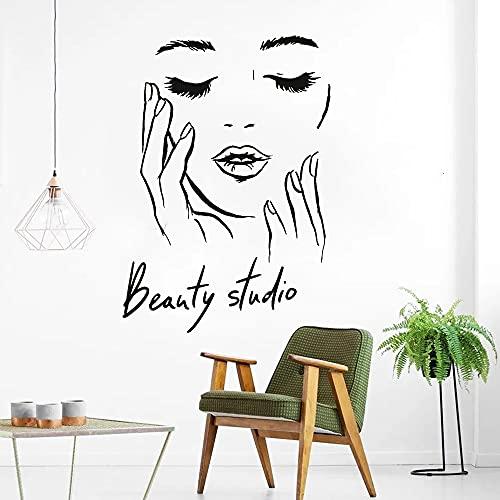 Cara femenina vinilo pegatinas de pared estudio de belleza pegatinas de puerta cosméticos maquillaje arte de la pared pegatinas murales A8 40x57cm