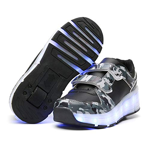 ASJUNQ Roller Skates,USB Charging Shoes Roller Shoes Girls Roller Skate Shoes Boys Kids Inline Skates,LED Light Up Wheel Shoes Roller Sneakers Shoes Wheels for Kids Best Gifts,CamoE-32