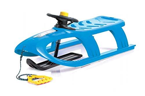 Schlitten Kinderschlitten Kunststoffschlitten blau aus Kunststoff inkl. Lenkrad mit Hupe, Zugseil Schieber Metallschienen