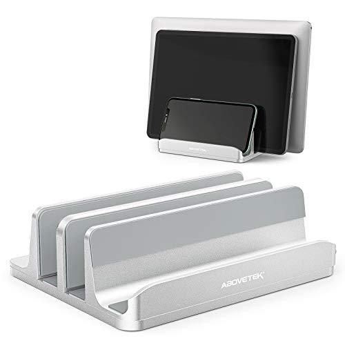 Vertical Laptop Stand - AboveTEK - 3 Slots for Computer, Tablet, Phone - Fits All Laptop Models (up to 17.3') - Heavy Duty Polished Aluminum Desktop Holder - Anti Slide Silicone Grips - Silver