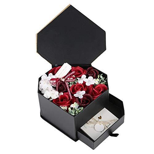Samfox Geschenkbox, handgemaakte zeep met zeep in hartvorm, romantisch geschenk met lade