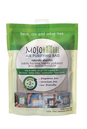 2 Pack Moso Natural 500gm Air Purifying Bag Deodorizer. Odor Eliminator for Kitchens, Living Areas, Bedrooms and Basements. Absorbs and Eliminates Odors.Charcoal Color (Charcoal)