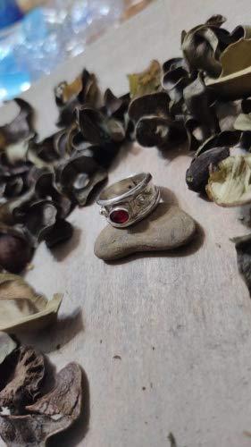 Mondo Italiano Firenze Anillo de plata 925 con piedra espinela roja