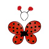 Creative Education of Canada Great Pretenders Ladybug Wings with Headband, Red/Black (One Size)