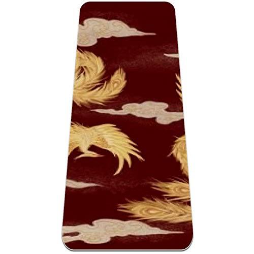 Eslifey Golden Phoenix - Esterilla de yoga gruesa antideslizante para mujeres y niñas (72 x 24 pulgadas, 1/4 pulgadas de grosor)