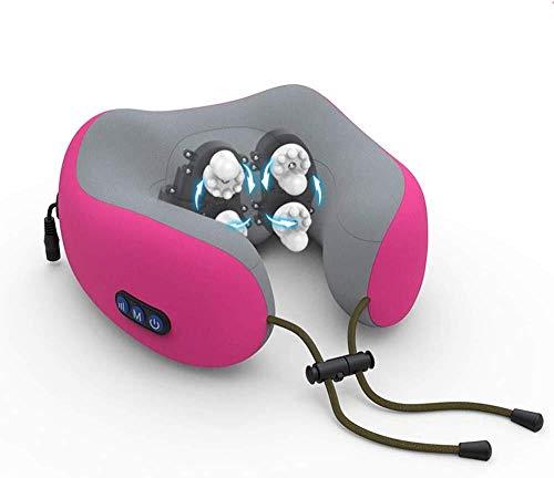 MISLD U-Type Massagekissen, multifunktional, für Schulter und Nacken, elektrisch, Massagekissen für Auto, Hals, Garde rot
