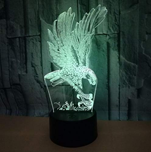 Luz nocturna de control remoto 3D águila animal colorido Luz de control remoto led acrílico luz estéreo visual táctil base negra luz nocturna con control remoto Lámpara de mesa USB