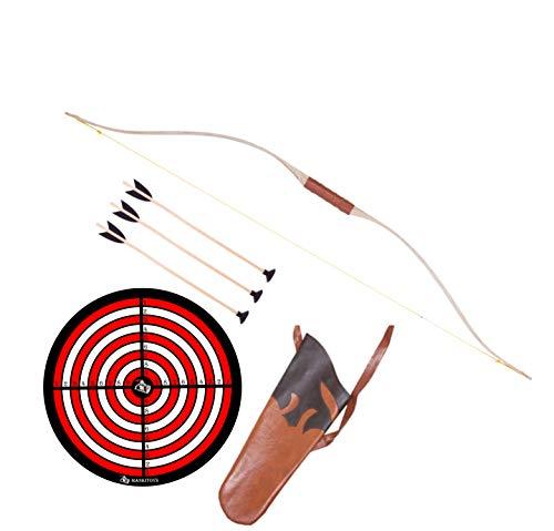 mankitoys Arco infantil de 105 cm con envoltura, 3 flechas con ventosa y diana, carcaj, arco infantil a partir de 5 años, arco con arco para niños