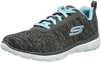 Skechers Women's Flex Appeal 3.0 Sneaker, Black Light Blue, 6 M US