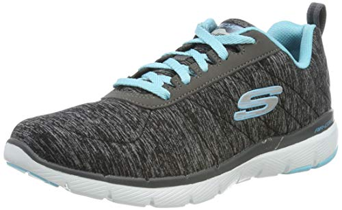 Skechers Women's Flex Appeal 3.0-INSIDERS Trainers, Black (Black & Charcoal Mesh/Lt Blue Trim Bklb), 8 UK 41 EU