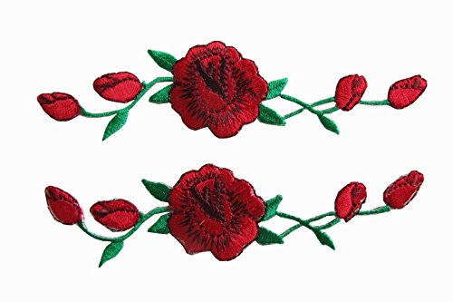 Yonisun 2 Pcs Applique Patch Rose Flower Embroidery Iron On Flower Appliques for Craft, Sewing, Clothing, Scrapbooking Decorative 1 1/8